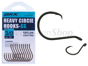Heavy circle hook SS met teflon coating